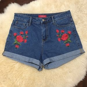 Guess embroidered High Rise denim shorts